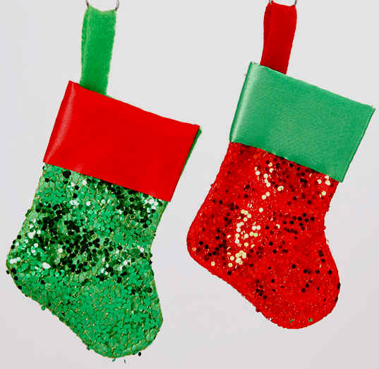 fancy small christmas stockings metallic - Small Christmas Stockings