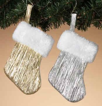 silver small christmas stockings or mini gold xmas stockings