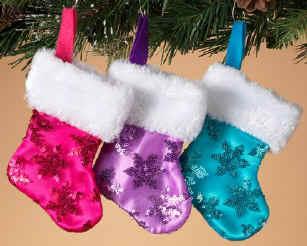 pink purple or blue mini christmas stockings - Purple Christmas Stocking