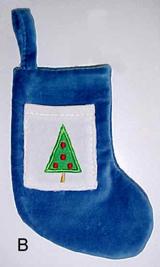 Blue Velvet Mini Christmas Stocking