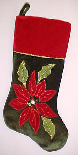 Velvet Poinsettia Christmas Stocking Green & Red