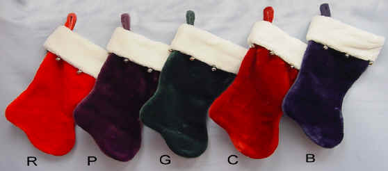 Velvet Plush Christmas Stockings Solid Colors