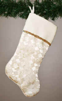 ivory jacquard christmas stocking - Gold Christmas Stocking