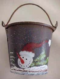 Christmas treats bucket Snowman